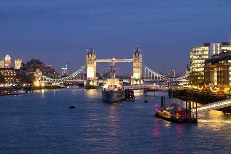 Night view of Tower Bridge in London, UK on 23 November 2011