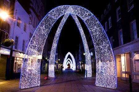 Christmas decorations on Oxford Street London, UK on 06 December 2011