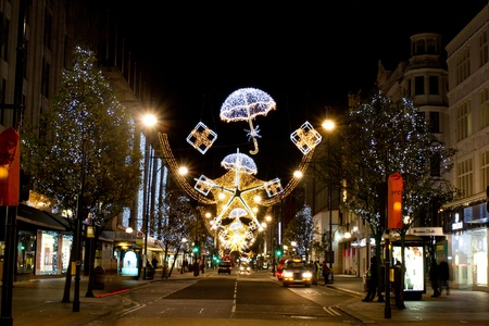 Christmas decorations on Oxford Street London, UK on 06 December 2011 Stock Photo - 11828244