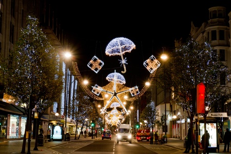 Christmas decorations on Oxford Street London, UK on 06 December 2011