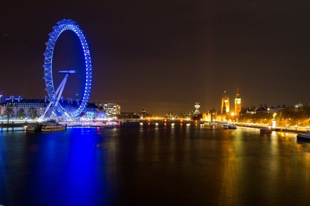 Long exposure night view of the London Eye and Parliament Bulding in London, UK on 06 December 2011