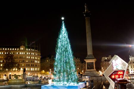 Christmas tree by night in Trafalgar Square, London, UK on 06 December 2011