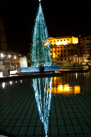 Christmas tree by night in Trafalgar Square, London, UK on 06 December 2011 Stock Photo - 11828294