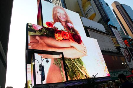 NEW YORK - SEPTEMBER 4: People, broadway shows ads and TV ad bilboards in Times Square, New York on September 04, 2011 in New York City, New York, USA Stock Photo - 11828797