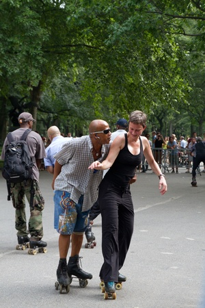 NEW YORK - SEPTEMBER 4: Unknown Central Park Dance Skaters during Skating Day with DJ Rob Scott on September 04, 2011 in New York City, New York, USA Stock Photo - 11829640