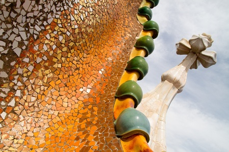 remodelled: Details from Casa Batllo, restored by Antoni Gaud� and Josep Maria Jujol, built in the year 1877 and remodelled in the years 1904�1906. Photo on July 25, 2011 in Barcelona, Spain