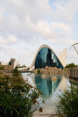 The City of Arts and Sciences (Valencian: Ciutat de les Arts i les Ci�ncies, Spanish: Ciudad de las Artes y las Ciencias) designed by Santiago Calatrava and F�lix Candela on July 28, 2011 in Valencia, Spain