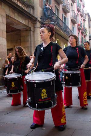 merce: BARCELONA - JULY 17: Drum players at Festa Major del Raval Festival on July 17, 2011 in Pla�a del Bonsucces, Raval, Barcelona, Spain