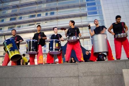 merce: BARCELONA - JULY 17: Drum players, Fire dragon and fire devils (carrefoc y diablos) in Festa Major del Raval Festival on July 17, 2011 in Raval, Barcelona, Spain
