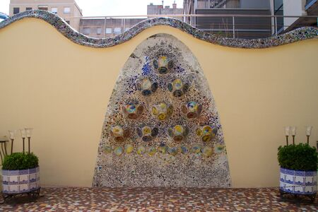 remodelled: BARCELONA - JULY 25: Details from Casa Batllo, restored by Antoni Gaud� and Josep Maria Jujol, built in the year 1877 and remodelled in the years 1904�1906. Photo on July 25, 2011 in Barcelona, Spain Stock Photo