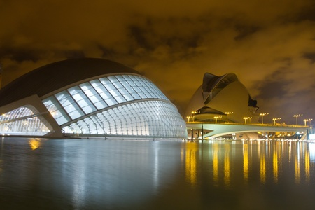 VALENCIA - JULY 28: Night view of The City of Arts and Sciences (Ciudad de las Artes y las Ciencias) designed by Santiago Calatrava and Félix Candela.Photo taken on July 28, 2011 in Valencia, Spain Editorial
