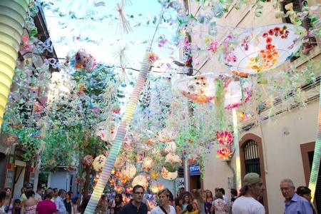 fireruns: BARCELONA - AUGUST 17: Decoration as part of the Gracia Festival 2011 (La Festa Major de Gracia 2011) on August 17, 2011 in Vila de Gracia, Barcelona, Spain
