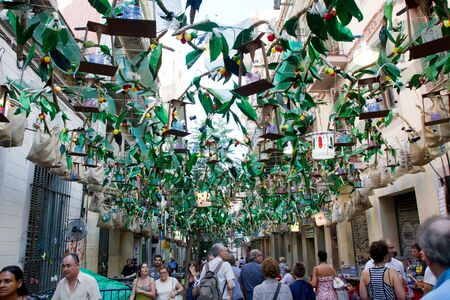 fireruns: BARCELONA - AUGUST 17: Decoration as part of the Gracia Festival 2011 (La Festa Major de Gracia 2011) on August 17, 2011 in Vila de Gracia, Barcelona, Spain
