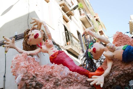 fireruns: BARCELONA - AUGUST 17: Decoration  as part of the Gracia Festival 2011 (La Festa Major de Gracia 2011) on August 17, 2011 in Vila de Gracia, Barcelona, Spain Editorial