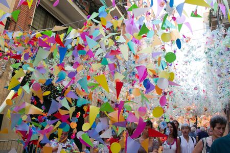 BARCELONA - AUGUST 17: Decoration  as part of the Gracia Festival 2011 (La Festa Major de Gracia 2011) on August 17, 2011 in Vila de Gracia, Barcelona, Spain 에디토리얼