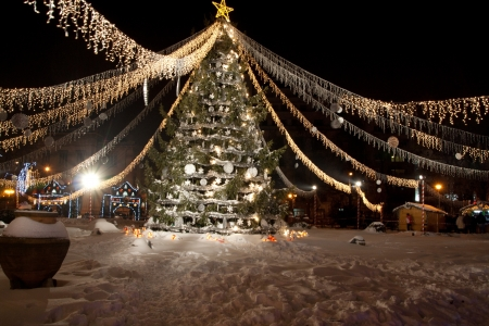 big ball: Golden and Silver Christmas Tree Stock Photo