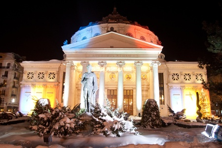 Christmas Night view of Romanian Atheneum, Bucharest,20 Dec 2009 photo