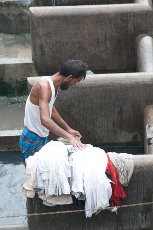 MUMBAI - JUNE 24: People at Dhobi Ghat, the world Stock Photo - 12468369