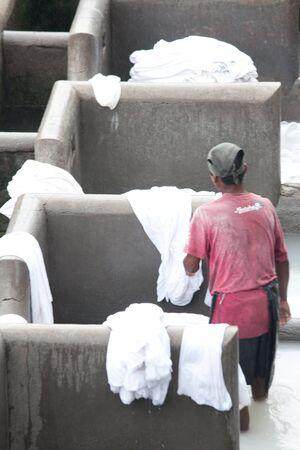 MUMBAI - JUNE 24: People at Dhobi Ghat, the world Stock Photo - 12468378