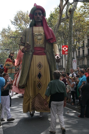 "merce: ""Gegants"" in the feast of La Mercè  La Mercè is the annual festival  ""festa major"" in Catalan; fiesta mayor in Spanish  of the city of Barcelona in Catalonia, Spain  24 September 2010"