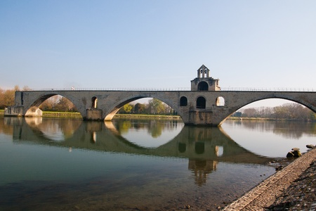 spanned: Pont d�Avignon (Pont St-B�nezet), built between 1171 and 1185, originally spanned Rh�ne River between Avignon and Villeneuve-l�s-Avignon, Provence, France. Stock Photo