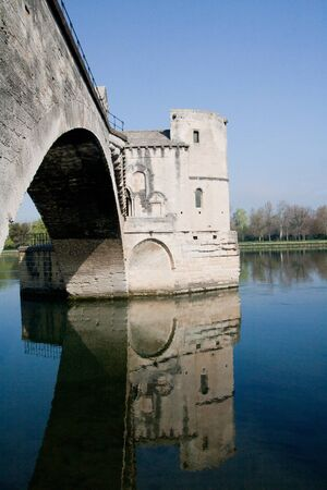 spanned: Pont d�Avignon (Pont St-B�nezet), built between 1171 and 1185, originally spanned Rh�ne River between Avignon and Villeneuve-l�s-Avignon, Provence, France. Editorial