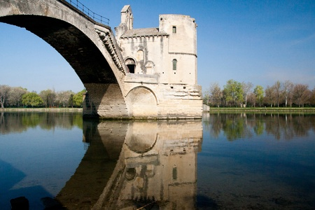 Pont dAvignon, built between 1171 and 1185, originally spanned  River between Avignon and Villeneuve, Provence, France.