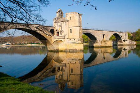 Pont d'Avignon (Pont St-Bénezet), built between 1171 and 1185, originally spanned Rhône River between Avignon and Villeneuve-lès-Avignon, Provence, France. Editorial