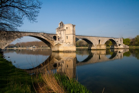 Pont d'Avignon (Pont St-Bénezet), built between 1171 and 1185, originally spanned Rhône River between Avignon and Villeneuve-lès-Avignon, Provence, France. Editorial