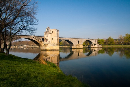 spanned: Pont dAvignon, built between 1171 and 1185, originally spanned River between Avignon and Villeneuve Avignon, Provence, France.