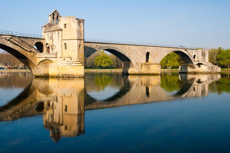 Pont d'Avignon (Pont St-Bé,nezet), built between 1171 and 1185, originally spanned River between Avignon and Villeneuve. 스톡 콘텐츠