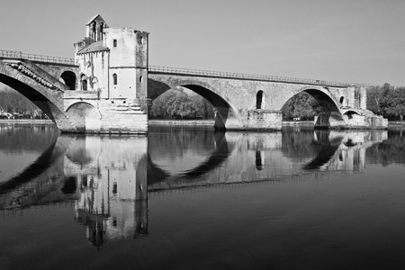 Pont dAvignon (Pont St-B&eacute,nezet), built between 1171 and 1185, originally spanned River between Avignon and Villeneuve, Provence, France. photo