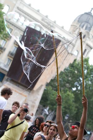 BARCELONA - JUNE 19: Protest in Placa Catalunya called