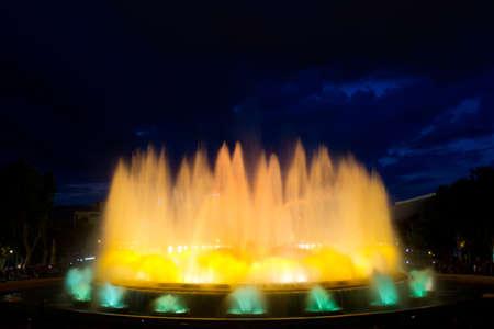The Magic Fountain of Montjuïc  Font màgica de Montjuïc , situated below the Palau Nacional on the Montjuïc hill and near the Plaça d Espanya, constructed in 1929, Barcelona, Spain  13 May 2012 Stock Photo - 13790202