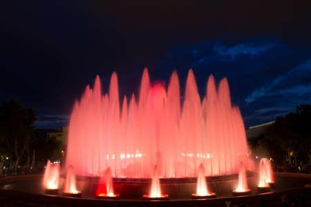 espanya: The Magic Fountain of Montjuïc  Font màgica de Montjuïc , situated below the Palau Nacional on the Montjuïc hill and near the Plaça d Espanya, constructed in 1929, Barcelona, Spain  13 May 2012