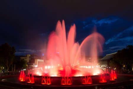 The Magic Fountain of Montjuïc  Font màgica de Montjuïc , situated below the Palau Nacional on the Montjuïc hill and near the Plaça d Espanya, constructed in 1929, Barcelona, Spain  13 May 2012