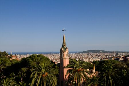 Aerial view of Barcelona from Antoni Gaudi s Park Guell in Barcelona, Spain photo