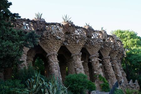 Antoni Gaudi s Park Guell in Barcelona, Spain  Bird nests built by Gaud� in the terrace walls  The walls imitate the trees planted on them