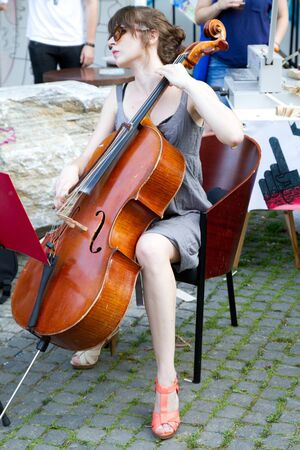 BUCHAREST - JUNE 15  Unknown artists perform on Arthur Verona - Painter street as part of Street Delivery 2012, on June 15, 2012 in Bucharest, Romania