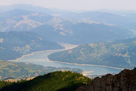 View of Ceahlau, Carpathian  Carpati  Mountains and Bicaz Lake and Viaduct, Romania Stock Photo