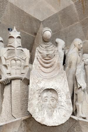 lia: Statue of Jesus at  La Sagrada Familia   Temple Expiatori de la Sagrada Fam&iacute,lia , unfinished church of Antoni Gaud&iacute, Barcelona, Spania