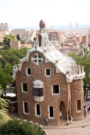 BARCELONA - AUGUST 31  View of Barcelona and museum at the entrance of Parc Guell, Barcelona, Catalunia, Spain on 31 August 2010 Stock Photo - 15347179