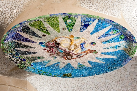 Mosaic pattern - Parc Guell, Barcelona, Spain Editorial