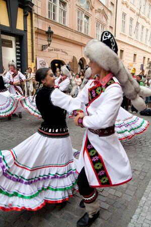 PRAGUE - AUGUST 26: Dancers at Folklore Festival ?Prague Fair? (Pra?sk� jarmark) 25.-30.8.2009, close to the Old Town Square  on August 26, 2009 in Prague, Czech Republic