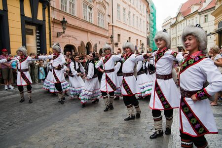 PRAGUE - AUGUST 26: Dancers at Folklore Festival ?Prague Fair? (Pra?ský jarmark) 25.-30.8.2009, close to the Old Town Square  on August 26, 2009 in Prague, Czech Republic