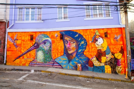 VALPARAISO - MARCH 03: Street art in  Concepcion and Alegre districts of the protected UNESCO World Heritage Site of Valparaiso on Chile