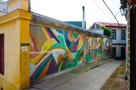 Graffiti on streets in  Concepcion and Alegre districts of the protected UNESCO World Heritage Site of Valparaiso on June 9, 2013 in Valparaiso, Chile