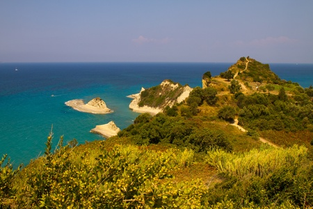 Seascape of coast and beaches in Corfu island, Greece photo