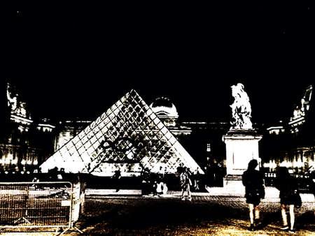 louvre pyramid: Louvre pyramid Paris by night  Stock Photo