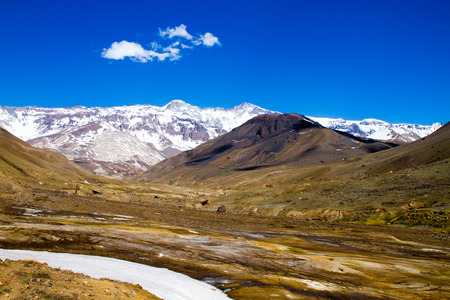 Cajon del Maipo canyon and Embalse El Yeso, Andes, Chile Stock Photo